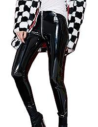 33a66b88ca60 Fräulein Fox Donna Lucido Pantaloni di Pelle Moda Skinny Pants Matita Lungo  Pantalone