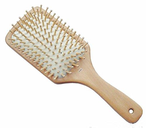 Jiahao Naturel carré large Paddle en bois Brosse à cheveux Peigne Coussin ovale antistatique Bois Poils Manche en bois, cheveux Brosse de massage, SPA de massage du cuir chevelu
