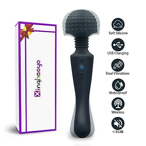 Magic Wand Vibratoren für Sie,Dildo Massagestab Sexspielzeug für Frauen,Weiches Handheld Massagegerät, Elektrischer Muskelentspannungsstab mit 2 starken Motoren und 10X10 verschiedenen Vibrationen
