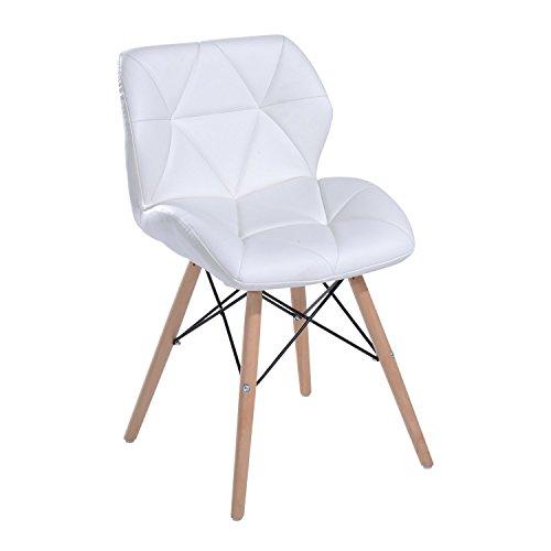 Homcom sedia moderna design imbottita eames style in ecopelle bianco 42 x 48 x 69cm