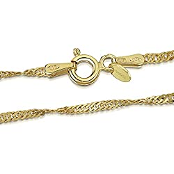 Amberta® Bijoux - Collier - Chaîne Argent 925/1000 - Plaqué Or 18K - Maille Singapour - Largeur 2 mm - Longueur 40 45 50 55 60 70 cm (70cm)