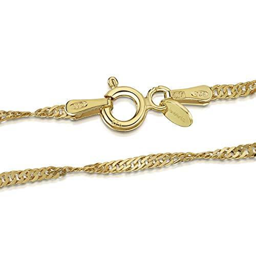 Amberta 925 Sterlingsilber 18K Vergoldet Damen-Halskette - Singapurkette - 2 mm Breite - Verschiedene Längen: 40 45 50 55 60 70 cm (45cm)