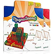 Playmags Building Board - Magnetic Starting Building Plate for or Other Magnetic Tiles - Great Add on to Any Magnetic Tile Toy - Colors May Vary