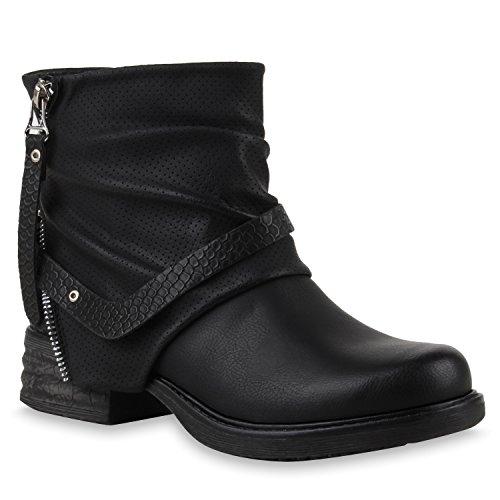 d4c3ec30a4aace Stiefelparadies Damen Stiefeletten Biker Boots mit Blockabsatz Nieten  Schnallen Flandell