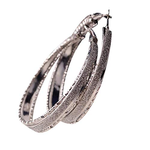 Redvive Top Damen-Ohrringe, langärmlig, rund, hängend, Party, große Kreolen 5.5cmx 5cm silber