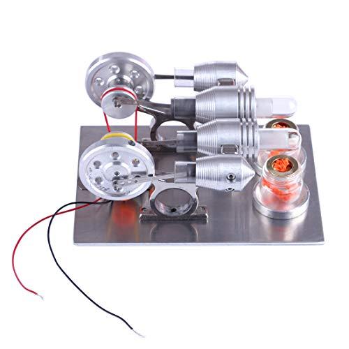 ZUJI Stirlingmotor Bausatz Doppelzylinder Motor Stirling Engine Kit DIY Modell Kit Lehrreich Physik Spielzeug für Kinder und Erwachsene