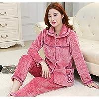 WYIKAI Pijamas Un Gran Número De Señoras' Invierno Caen Fuera De La Camiseta Pajama Establece Franela 2Pieza Gruesa Pijama Longsleeved Homem4Xl,XL