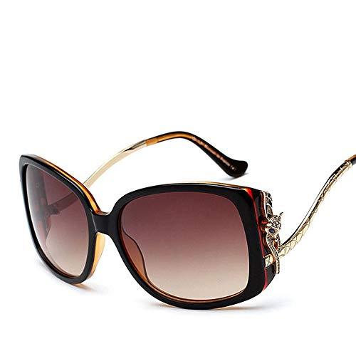 Easy Go Shopping Polarisierte Sonnenbrille, Mode High-Ended Fox Head Sonnenbrille für Frauen Sonnenbrillen Sonnenbrillen und Flacher Spiegel (Farbe : Black/Brown)