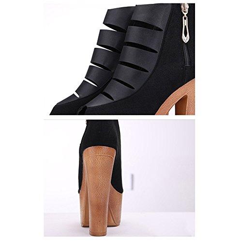 Scothen Talons hauts|fermoirs pratiques Pompes|moulantes talons aiguilles classiques Trendy moulantes chaussures plate-forme de parti sandales poisson chaussures à talons plate-forme romaine Noir