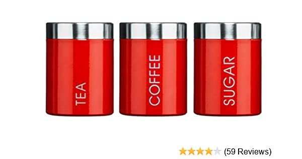 87049fcbf68f Kabalo Red Set of 3 Tea Coffee & Sugar Canisters Kitchen Storage Containers  Jars Pots (10cm x 12cm each): Amazon.co.uk: Kitchen & Home