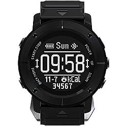 LBAFS Montre Intelligente Extérieure GPS Positionnant Le Moniteur De Fréquence Cardiaque en Temps Réel Imperméable, Meilleur Cadeau,Black