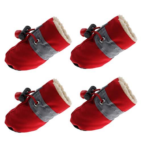 F Fityle Cachorros De Algodón De Felpa Y Zapatos para Perros Botas De Nieve para Mascotas Botas Protectores De Patas Calientes - Rojo L