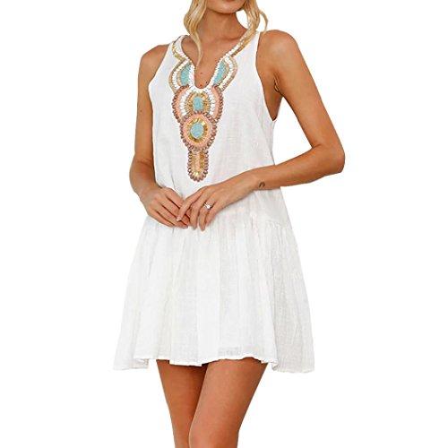 Damen V-Ausschnitt Öffnen Rückseite Strand Bikini Vertuschung Kleid Strand Rock,Jaminy Frauen Sommer Retro Drucken Minikleid (L)