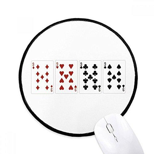 DIYthinker 9 Heart Spade Diamond Club Muster rund Griffige Mousepads Schwarz Titched Kanten Spiel Büro Geschenk -