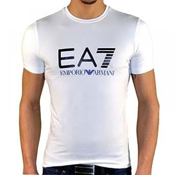 Ea7 Emporio Armani - Tee Shirt Manches Courtes - Homme - Train Graph Tee - Blanc Bleu - XXL