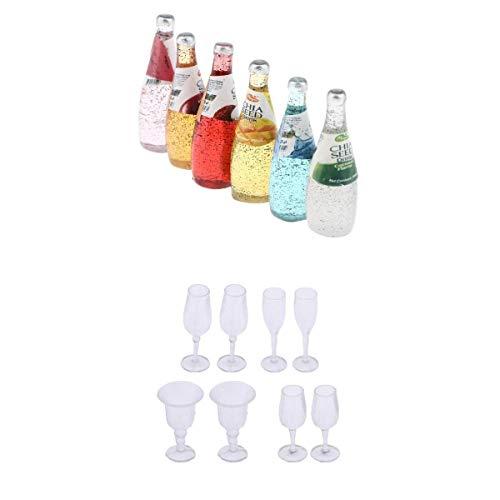 T TOOYFUL 1/12 Puppenhaus Zubehör Mini Cocktail Getränkeflaschen und Weinglas Gläser Satz für Dollhouse Küche / Esstisch / Pub / Bar Deko - B - 14pcs -