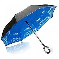 Manos en forma de C innovadora inversa Paraguas libre de la manija paraguas de doble capa a prueba de viento plegable para los hombres y las mujeres