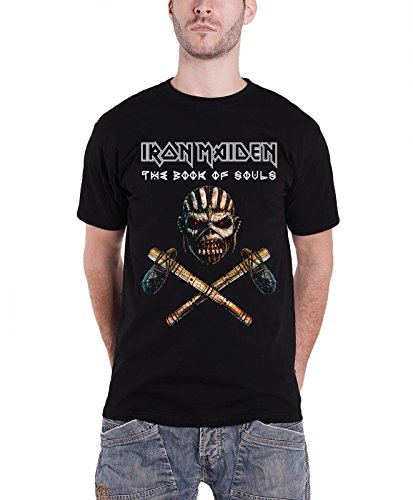 Iron Maiden T Shirt libro di anime ascia Band Logo Nuovo ufficiale da uomo nero Black Large