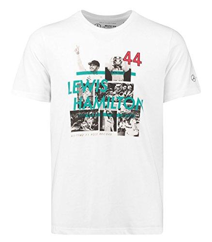 Lewis Hamilton 2017F1Pole Position Record T-Shirt von Mercedes-AMG, weiß