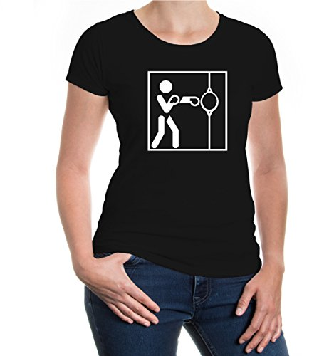 buXsbaum® Girlie T-Shirt Punching Ball-Piktogramm Black-White