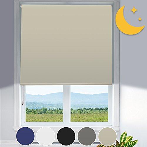 Verdunkelungsrollo mit Hitzeschutz | lichtundurchlässig | Klemmfix ohne Bohren | Fensterrollo in Creme Beige | Rollo für Fenster in vielen Größen ( 65 cm breit und 150 cm lang )