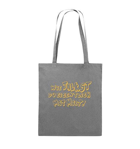 Comedy Bags - WIE TALKST DU EIGENTLICH MIT MIR ?! - Jutebeutel - lange Henkel - 38x42cm - Farbe: Schwarz / Pink Dunkelgrau / Gelb