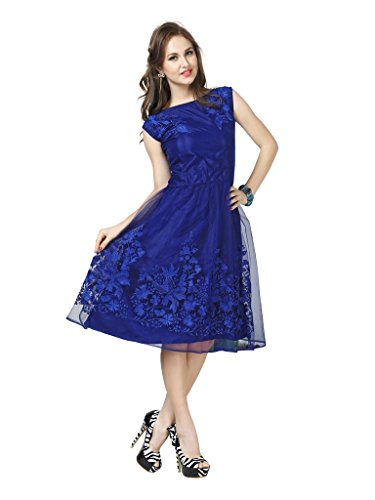 Elevate Women Women's Net Dress (FK01_M _Blue _Medium)