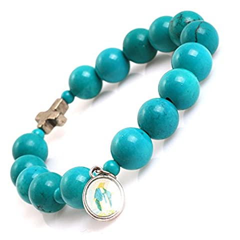 Mala Anglican Muslim Catholic Christian Episcopal Prayer Rosary Beads Bracelet for Men 7'' Handmade (Turquoise/10MM)