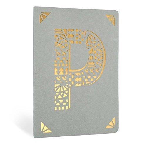 Monogramma Laminate Foderate Taccuino - A6 - Lettera P - Grigio & Oro - Portico Designs