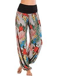 Hibote Larges Pantalons Femme Floral Imprime Taille Haute Bohème Aladdin  Pantalon Imprimé Léopard Casuel Pantalon Large fd087df8c60
