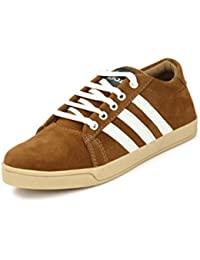 FALCON Stylish White Suede Leather Corporate Office Casual Sneakers Lace-Up Derby Shoes For Men