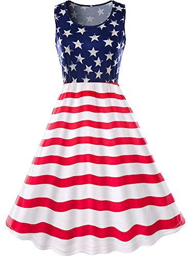 Norme Damen Ärmellos Amerikanische Flagge 4th Juli Patriotisches Kleid Sterne Streifen Drucken Strand Kurze Lässiges Hemd Amerikanische Flagge Kleid (Stil B, S)