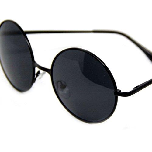 QHGstore Gafas de sol de los hombres de Steampunk retro gafas redondas...