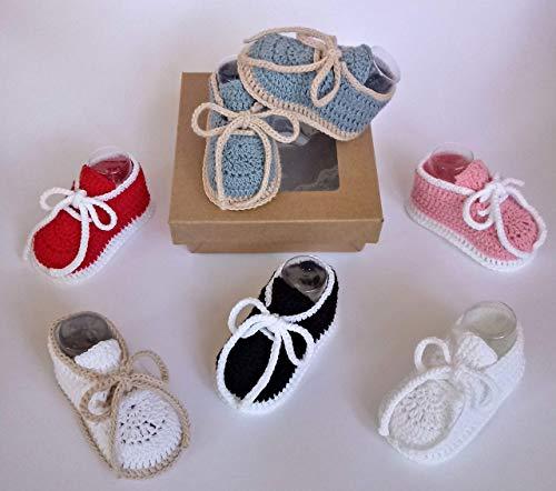 Patucos para bebés de ganchillo, hechos a mano, tipo deportivos, en dos tallas de 0-3 meses y de 3-6...