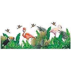Hacoly Flamingo Wandaufkleber Kreativ Tropische Pflanze Wandsticker Kinderzimmer Kindergarten Umgebung Selbstklebend Aufkleber Wandtattoo DIY Wanddeko Ideal für die Dekoration Ihres Hauses - Grün