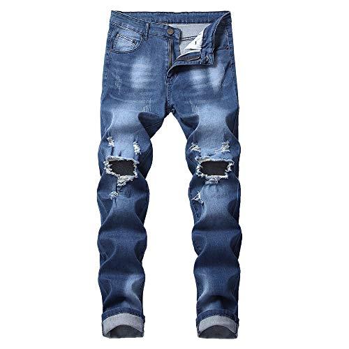 tohole Herren Gestickte zerrissene Jeans Hosen Strumpfhosen Jogginghose Pants Sweatpants Männer...