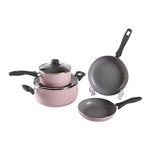Ceramic Non-Stick Aluminum Pan Cookware Set Frying Pan Soup Pot Milk Pot Four-Piece Pink Household