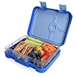 Navaris Lunchbox für Kinder 4 Fächer - Brotdose BPA frei mit Unterteilung Brotbox Dose für Kindergarten Schule - Bento Box in Dunkelblau