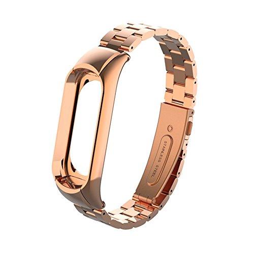 Fcostume Für Xiaomi Mi Band 3 Mode aus Edelstahl Luxus-Armband aus Metall (Rose Gold)