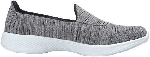 Skechers Go Walk 4-Satisfy, Scarpe Running Donna Nero (Black/white)