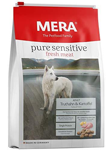 MERA pure sensitive fresh meat Adult Truthahn und Kartoffel Hundefutter – Trockenfutter für Hunde mit einer Rezeptur ohne Getreide und 25{8da378bf23ac591a9298358207730381a7d23e23effe4e905ba7312065987e74} Frischfleisch