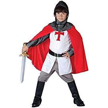 Smiffys Children's Deluxe Armoured Knight Costume, Jumpsuit ...