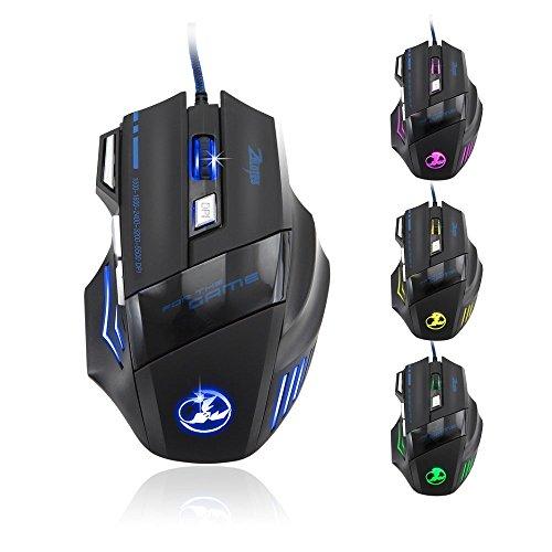 Jacky mouse-5500DPI 7Taste LED optische USB Wired Gaming Maus Mäuse für Pro Gamer - 7 Sander