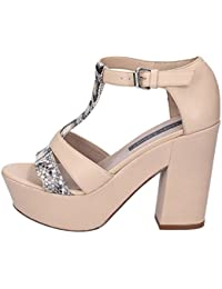 JANET   JANET Heeled-Sandals Womens Leather Beige 7a17b02bc73