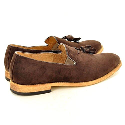 My Perfect Pair Da uomo, in pelle foderato slip on Suede nappa mocassini scarpe Brown