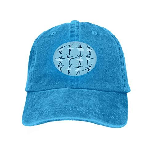Cowboy Hat Fashion Baseball Cap for Men and Women Silhouettes Ballerinas Dancing swan Lake Blue