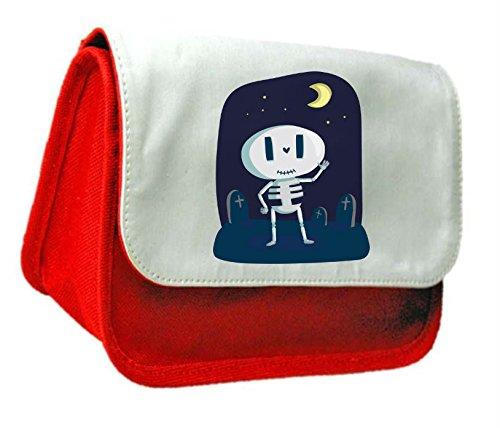 Kitsch Design di Halloween-Scheletro in Moonlight Frizione Borsa o Astuccio,