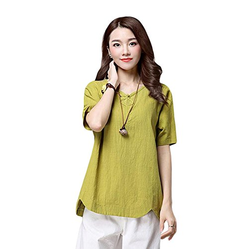 Meijunter Damen V-Neck Baumwolle Leinen Kurze Hülse Bluse Sommer Loose T-Shirts Tops (Linen-blend T-shirt Top)
