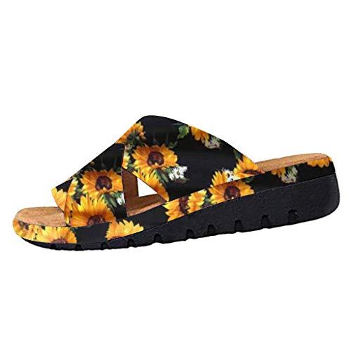 COZOCO Damenmode Flats Wedges Open Toe Knöchel Strand Schuhe Roman Slippers Sandalen(B-Black,36 EU)