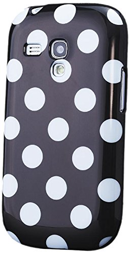 iCues Schutzhülle für Samsung Galaxy S3 MINI   Polka Dots TPU Case Schwarz   [Display Schutzfolie Inklusive] Damen Frauen Mädchen Silikon Gel Motiv Muster Hülle Cover Schutz
